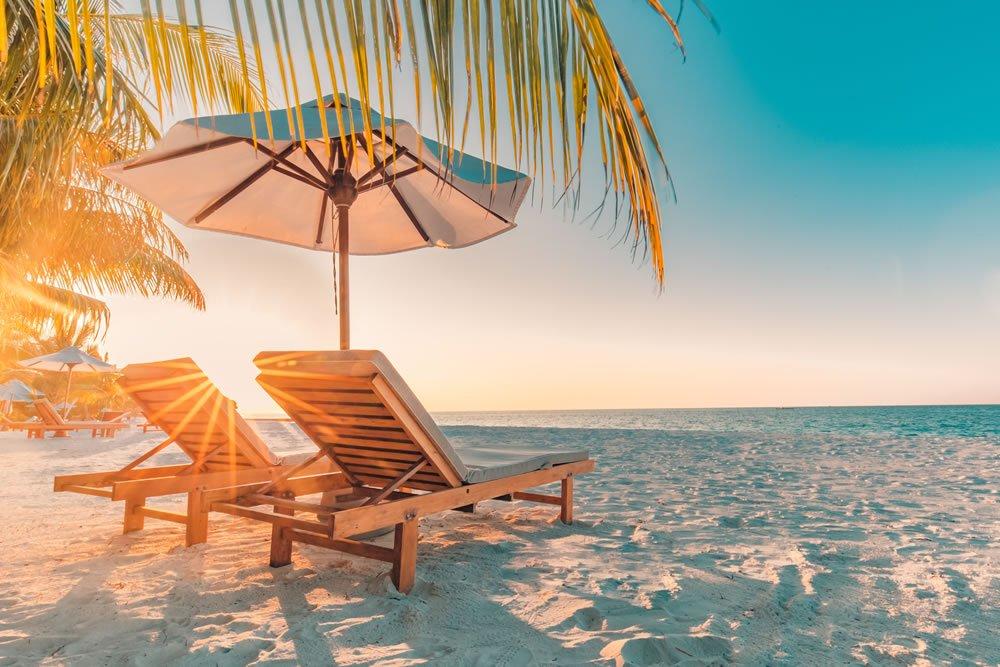 a beach and sun loungers